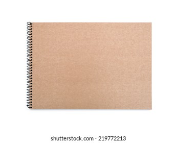 recycled paper notebook front cover on white background