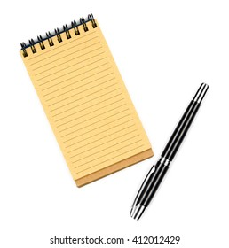 Recycled paper notebook, opened on a blank sheet and black ink pen for your note, isolated on white background