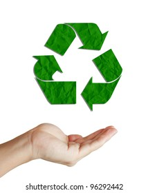 recycled paper sign floating on well shaped hand isolated on white. Save the world concept