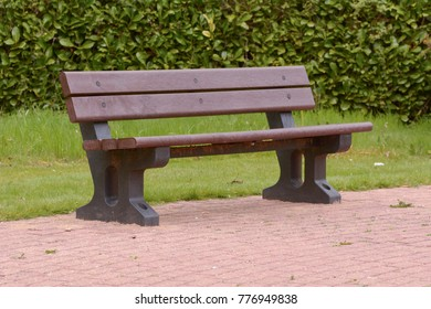 Recycled plastic bench in public space