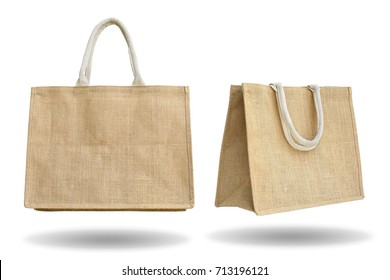A recycled sack bag shopping isolated on white background.This has clipping path.