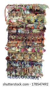 Recycled Upcycled Textile Collage with Colorful Fringe Fiber Art Yarn Wall Hanging Craft