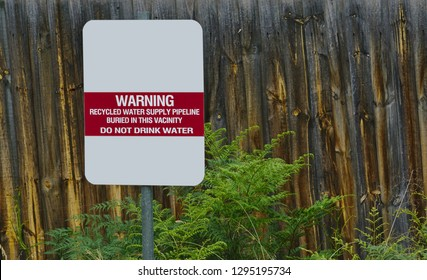 Recycled Water Do Not Drink Water Warning Sign