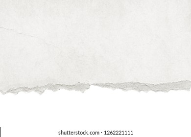 Recycled white torn horizontal note paper texture, light background.