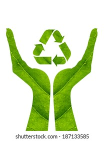 Recycling arrows made of green leaf on woman hand isolated on white background.