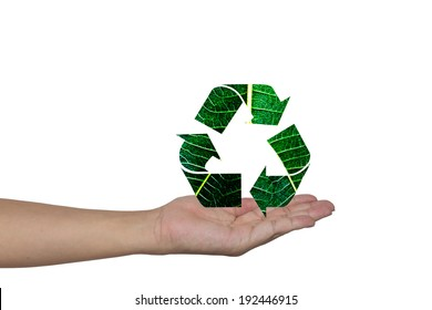 Recycling arrows made of green leaf on woman hands  Ecology Concept.Environment ally friendly.