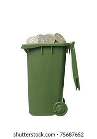 Recycling Bin with coins isolated on white background