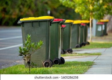 Recycling bin stands outdoor. Australia, Melbourne.