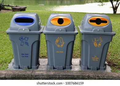 Recycling bins for different kinds of recyclable trash
