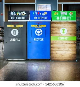 Recycling bins: landfill, recycle, compost