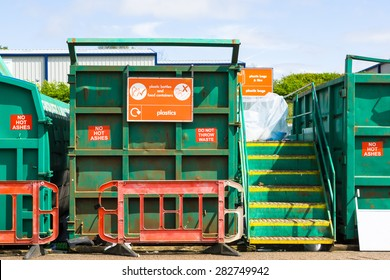Recycling container at a recycling centre, in England