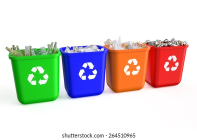 recycling containers with  trash isolated on  white background