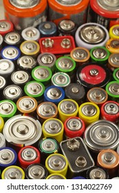 Recycling. Dozens of types, sizes, colors of used batteries and accumulators.