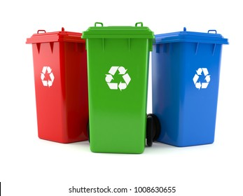 Recycling dustbins isolated on white background. 3d illustration