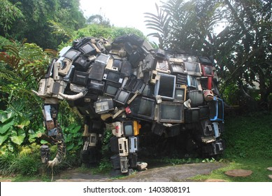 Recycling electronic equipment such as television waste is used as an elephant statue, environmentally friendly concept make art from television electronic waste, Batu, Indonesia, 13 April 2019.