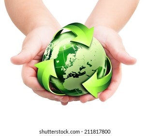 recycling - future to the hands of new generation -  Europe, elements of this image furnished by NASA