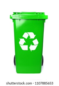 Recycling isolated bins on white background