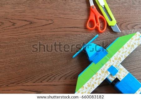 Recycling Kid Toyhandmade Plane Using DC Stock Photo (Edit