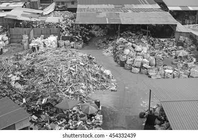 Recycling Metal scrapyard, processed in monochrome.