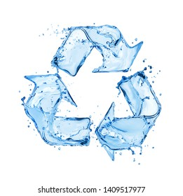 Recycling sign made of water splashes, conceptual image on white background