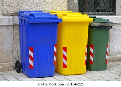 Recycling and sorting plastic trash cans