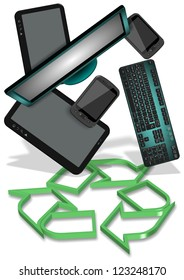 Recycling symbol and electronic equipment hovering above it / E-waste recycling