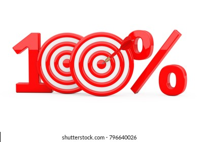 Red 100 %  Sign as Darts Target with Darts Arrow on a white background. 3d Rendering.