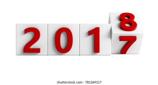 Red 2017 box rotating to 2018. New Year concept Isolated on white background. 3D Rendering, Illustration.