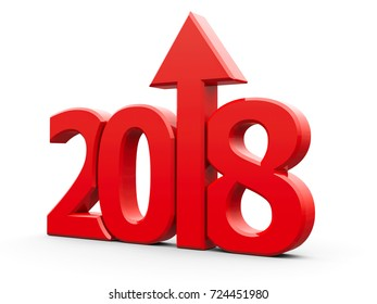 Red 2018 with arrow up isolated on white background, represents growth in the new year 2018, three-dimensional rendering, 3D illustration