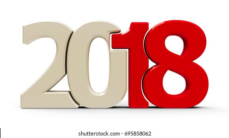 Red 2018 symbol, icon or button isolated on white background, represents the new year 2018, three-dimensional rendering, 3D illustration