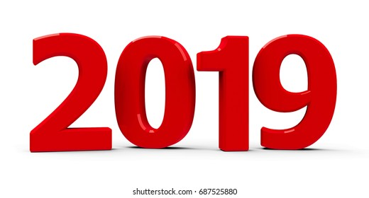 Red 2019 symbol, icon or button isolated on white background, represents the new year 2019, three-dimensional rendering, 3D illustration