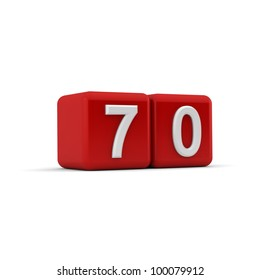 A red 3D block with white number seventy