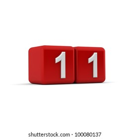 A red 3D block with white number eleven