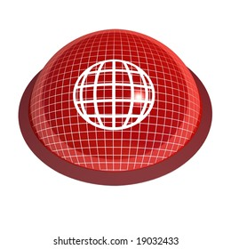 red 3d globe button