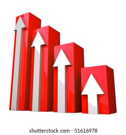 Red 3D Graph with white arrows on white background
