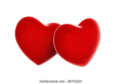Red 3d Heart on white
