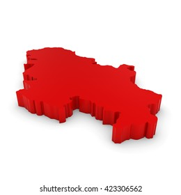 Red 3D Illustration Map Outline of Serbia Isolated on White