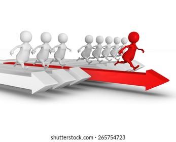 Red 3d Leader of Competition. Success Concept. 3d Render Illustration.