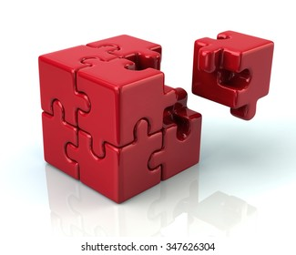 Red 3d puzzle cube with a missing piece on white background