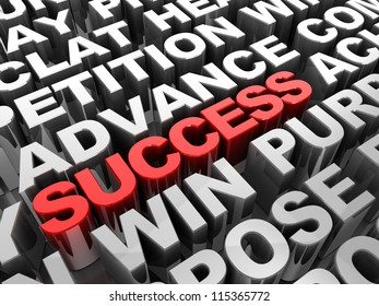 Red 3d �¢??text success in the center of different words