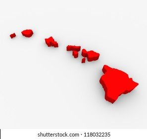 A red abstract state map of Hawaii, a 3D render symbolizing targeting the state to find its outlines and borders