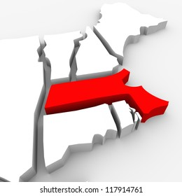 A red abstract state map of Massachusetts, a 3D render symbolizing targeting the state to find its outlines and borders
