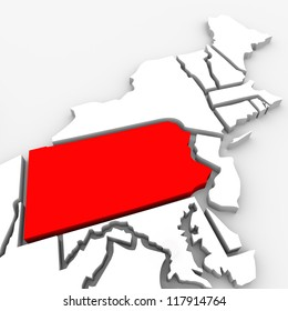 A red abstract state map of Pennsylvania, a 3D render symbolizing targeting the state to find its outlines and borders