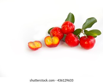 Red acerola cherry on white background,Barbados cherry fruit