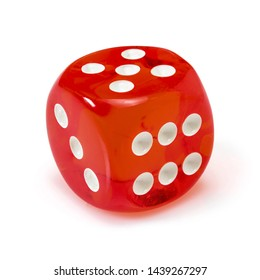 Red acrylic transparent dice for games. Gambling translucent dice isolated in a white background, macro close up high resolution..