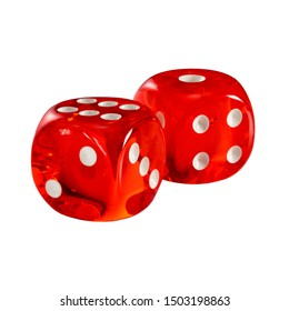 Red acrylic transparent dice for games. Two gambling translucent dices isolated on white background without shadow, macro close up high resolution.