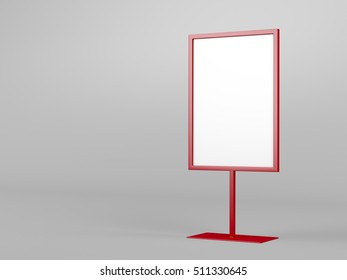 Red advertising stand on gray background, 3D illustration