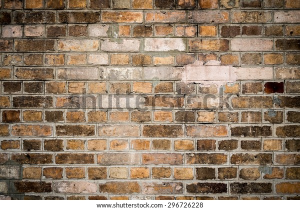 Red Aging Rusty Brick Wall Background Stock Photo (Edit Now