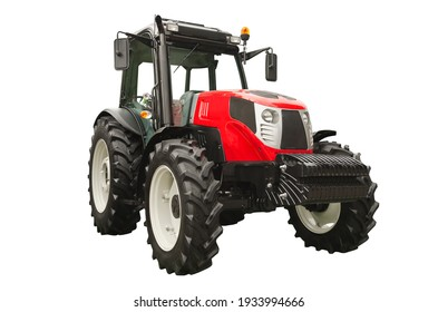 Red agricultural tractor, front view