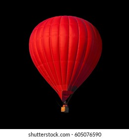 Red air balloon isolated on black with alpha channel and work path, perfect for digital composition